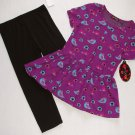 TEMPTED Girl's Size 6X Purple Birds Birdhouse Tunic, Leggings Outfit Set