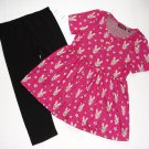 TEMPTED Girl's Size 6 Baby Bunny Floral Pink Tunic, Leggings Outfit Set