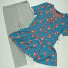 TEMPTED Girl's Size 6 Baby Deer Turquoise Tunic, Leggings Outfit Set