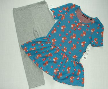 TEMPTED Girl's Size 5 Baby Deer Turquoise Tunic, Leggings Outfit Set