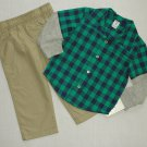 CARTER'S Boy's Size 18 Months Green Plaid Khaki Pants Set, NEW