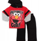 SESAME STREET ELMO Boy's 12 Months Hooded Sweat Suit Set, Outfit, NEW