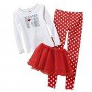 CARTER'S Girl's Size 4 SANTA LOVES ME 3-Piece Pajama TUTU Set, NEW