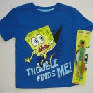 SPONGEBOB Boy's Size 4 Trouble Finds Me T-Shirt, Tee and Plane Glider Set, NEW