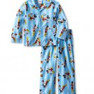 DISNEY Boy's Size 4T MICKEY MOUSE Sports Flannel Coat Pajama Set, NEW