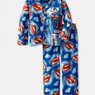 DC COMICS Boy's Size 10 SUPERMAN Flannel Coat Pajama Set, NEW