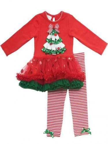 RARE EDITIONS Size 5 CHRISTMAS TREE Red Tutu Dress, Striped Leggings Set, NEW