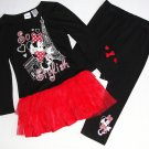 DISNEY Girl's Size 5 MINNIE Paris Tunic Tutu Leggings Outfit, Set, NEW