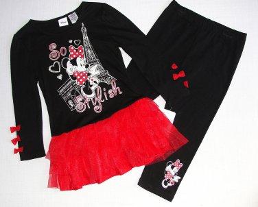 DISNEY Girl's Size 5 MINNIE Paris Tunic Tutu Leggings Outfit, Set, NEW