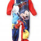 DISNEY MICKEY MOUSE BORN TO ROCK Boy's 4T Fleece Footed Pajama Sleeper
