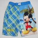 DISNEY Boy's Size 4T MICKEY MOUSE Tropical Island Swim Shorts, Suit, NEW