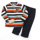 SESAME STREET Boy's Size 24 Months Fleece Striped Football Pullover, Pants Set