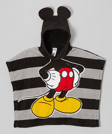 """DISNEY MICKEY MOUSE Fleece Hooded Ponch, 21"""" X 24"""", NEW"""