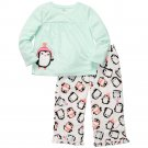 CARTER'S Girl's Size 4T PENGUIN Micro Fleece Pajama Pants Set, NEW