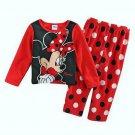 DISNEY MINNIE MOUSE Size 2T Fleece Dot Pajama Pants Set, NEW