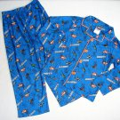 DISNEY PLANES DUSTY Boy's Size 4/5 Flannel Coat Pajama Set, NEW