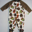 LITTLE WONDERS Boy's 0-3 Months Fleece Animal Bear Footed Romper, NEW