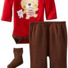 BON BEBE Boy's 0-3 Months TEDDY BEAR 3-Piece Outfit, Set, NEW