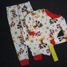 DISNEY MICKEY MOUSE Size 4T Christmas Santa Gifts Print Pajama Pants Set, NEW