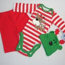 GERBER Baby Boys NEWBORN Reindeer Bodysuit Pants Hat Set, NEW