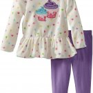SESAME STREET Girl's Size 3T Fleece CUPCAKE Tunic Purple Leggings Set, NEW