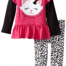 SESAME STREET Girl's Size 3T CAT Pink Tunic Dress, Leopard Leggings Outift