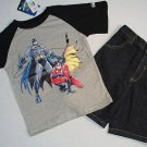 DC COMICS Boy's Size 7 BATMAN T-Shirt, Tee, Denim Shorts Set, NEW