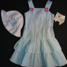 LITTLE BITTY Girl's Size 5 Blue White Gingham Sundress Dress Hat Set, NEW