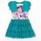MY LITTLE PONY Girl's Size 5 Teal Tutu Dress with Attached Shrug, NEW