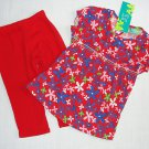 TOP GIRL Mesalve Girl's Size 3 Floral Tunic Top, Red Leggings Outfit, Set, NEW