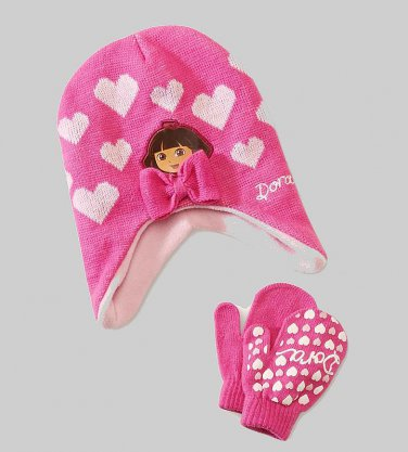 NICKELODEON DORA Girl's Pink Hearts Fleece Knit Beanie, Mitten Set, NEW