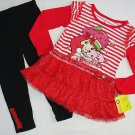 STRAWBERRY SHORTCAKE Girl's 3T Dress Tunic Leggings Outfit, Set, NEW