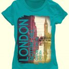 HYBRID Girl's Size L 14 Turquoise LONDON T-Shirt, Tee, Shirt, NEW NWOT