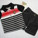 CARTER'S Boy's 3-6 Months Striped Polo Shirt Black Denim Shorts Outfit, Set, NEW