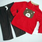 "CARTER""S Boy's Size 18 Months BEAR Fleece Faux Sherpa Pullover, Pants Set, NEW"