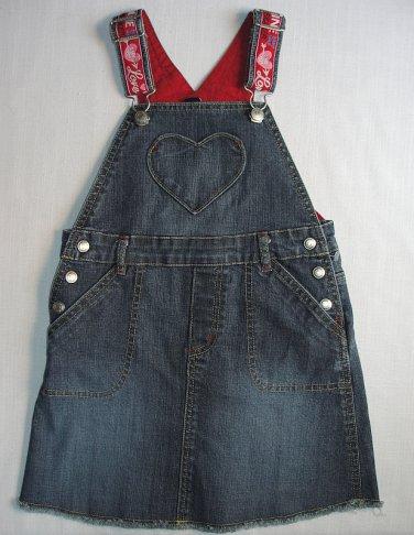 GAP STRETCH Girl's Size 5 Toddler Valentine's Heart Blue Denim Dress Jumper
