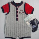 BABYWORKS Boy's Size 3-6 Months BASEBALL MVP Shirt, Shortalls Hat Set, NEW
