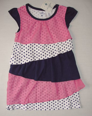 WILLOW BLOSSOM Girl's Size 5 Chiffon Tiered Dot Tulle Pink Blue Dress, NEW