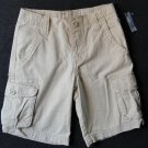 OLD NAVY Boy's Size 7 Light Khaki Cargo Shorts, Adjustable Waistband, NEW