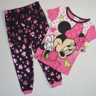 DISNEY MINNIE MOUSE Girls Size 4T Pajama Top with Foil Heart Bottoms, NEW