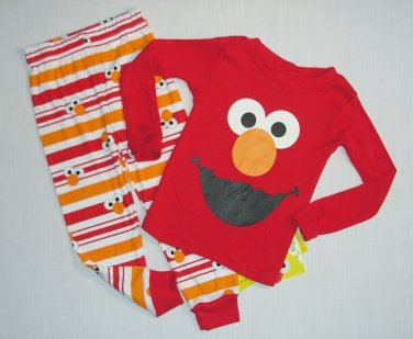 SESAME STREET Boy's 4T ELMO Full Graphic Pajama Striped Pants Set, NEW