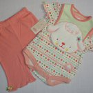 BABY BON BEBE 3-6 Months 3-Piece Outfit, Pants Lamb Bib, Set, NEW