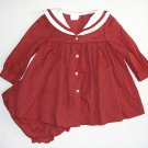 C.I.CASTRO Girl's Size 18 Months Red Green Plaid Sailor Bib Dress Bloomers Set
