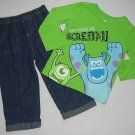 DISNEY MONSTERS MIKE And SULLY 24 Months 2T Jeans, Fleece Vest Set, Outfit, NEW
