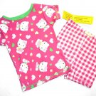 SANRIO HELLO KITTY Girl's Size 3T Pink Print Top Check Pajama Shorts Set, NEW