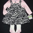 CARTER'S Girl's 3 Months Fleece Zebra Dress Jumper Tights Set, Outfit, NEW