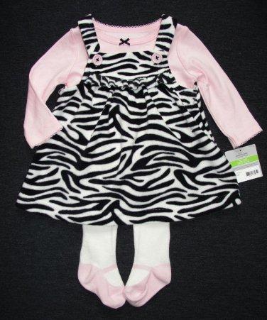 CARTER'S Girl's 3 Months Fleece Zebra Dress Jumper Tights Set, Outfit, NEW