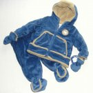 PROTECTION SYSTEM Boy's Size 0-6 Blue Velour Sherpa 2-Piece Snowsuit, Pram NEW