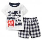 CARTER'S Boy's 9 Months Fire Truck Engine Blue White Checkered Shorts Set, NEW