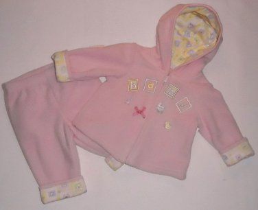 FIRST IMPRESSIONS Girl's 0-3 Months Pink Fleece Pants Set with Lined Hood